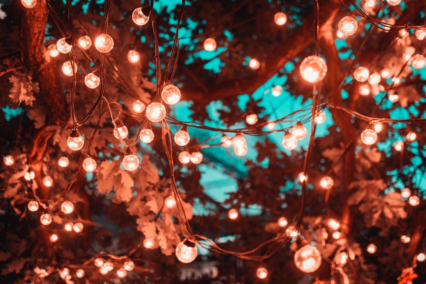 brown string lights
